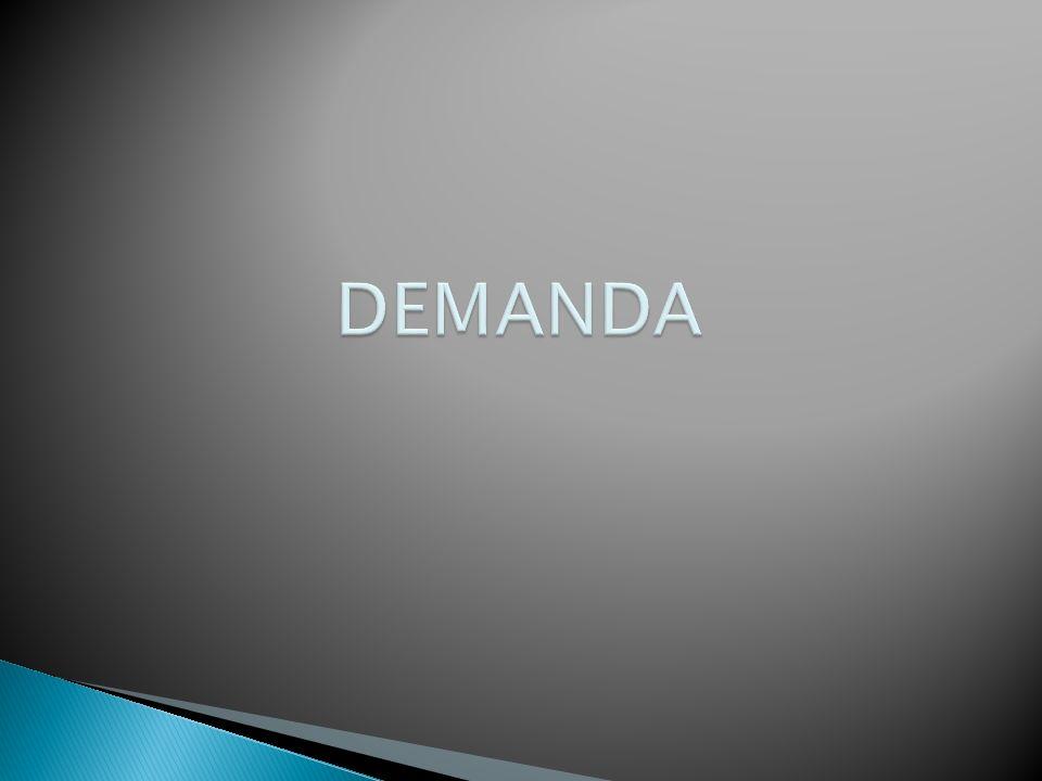 DEMANDA La cantidad demandada de un bien o servicio es la cantidad que los consumidores están dispuestos a comprar en un periodo dado a un precio particular con ceteris paribus