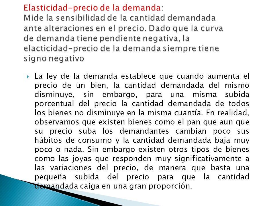 La ley de la demanda establece que cuando aumenta el precio de un bien, la cantidad demandada del mismo disminuye, sin embargo, para una misma subida