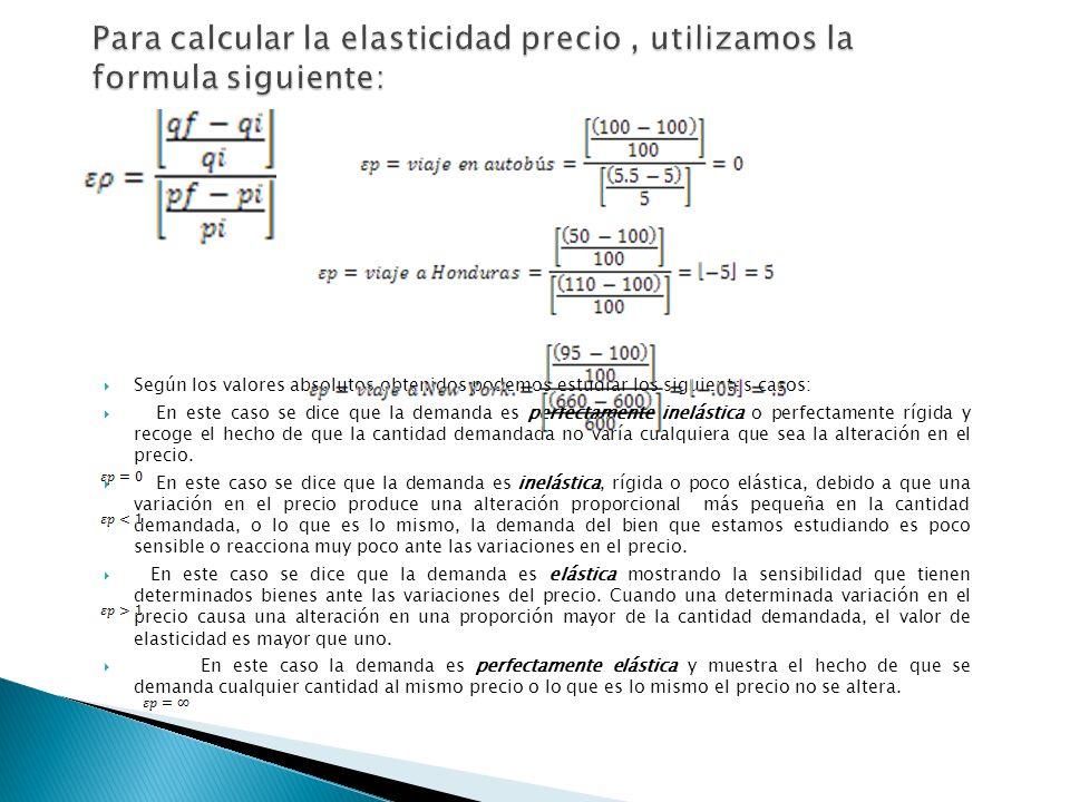Según los valores absolutos obtenidos podemos estudiar los siguientes casos: En este caso se dice que la demanda es perfectamente inelástica o perfect