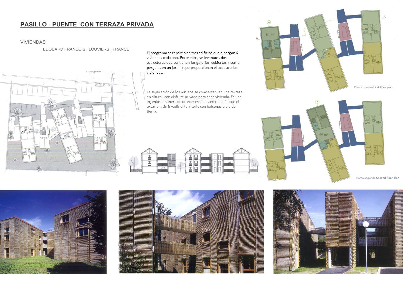 El programa se repartió en tres edificios que albergan 6 viviendas cada uno. Entre ellos, se levantan, dos estructuras que contienen las galerías cubi