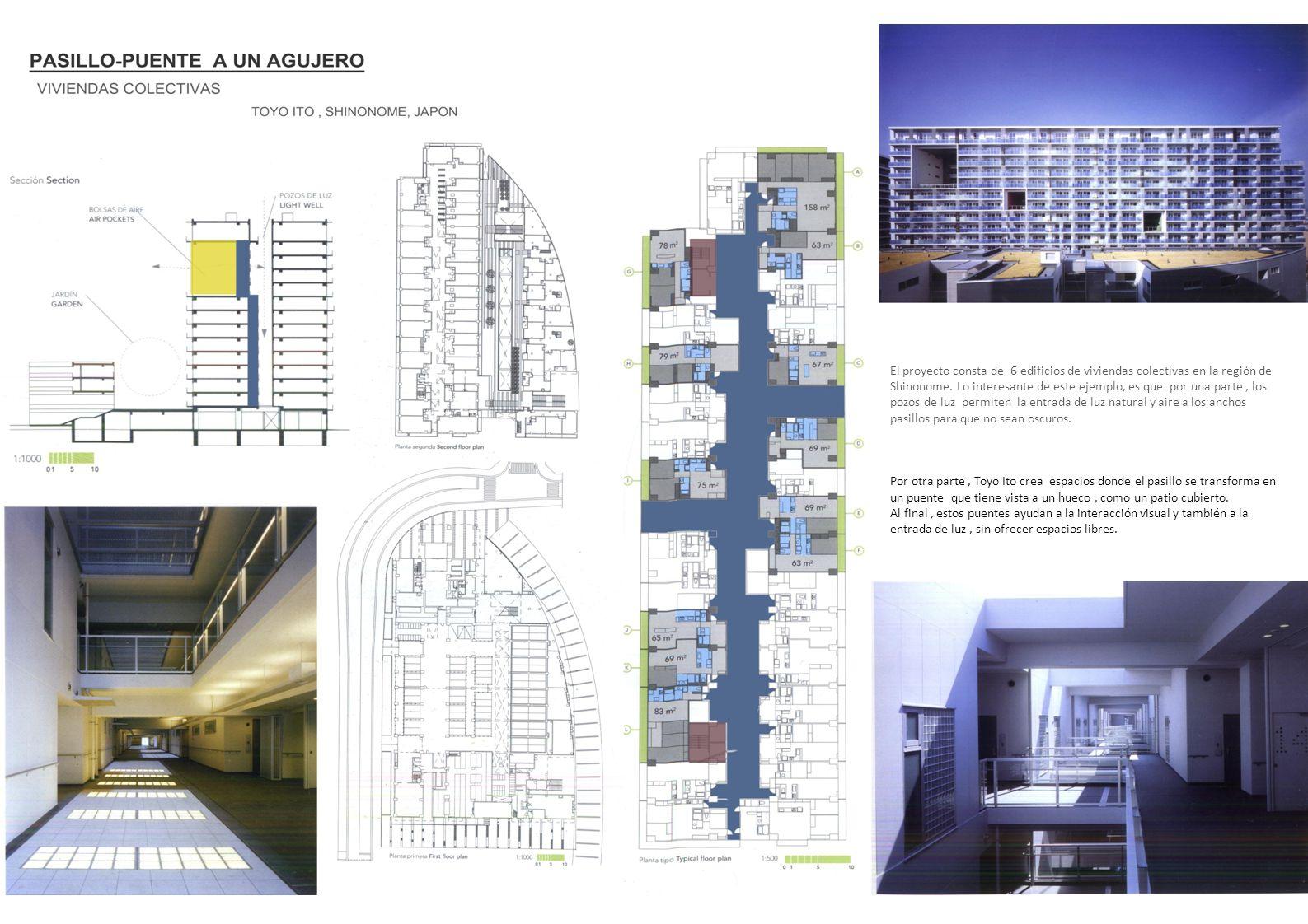El proyecto consta de 6 edificios de viviendas colectivas en la región de Shinonome. Lo interesante de este ejemplo, es que por una parte, los pozos d
