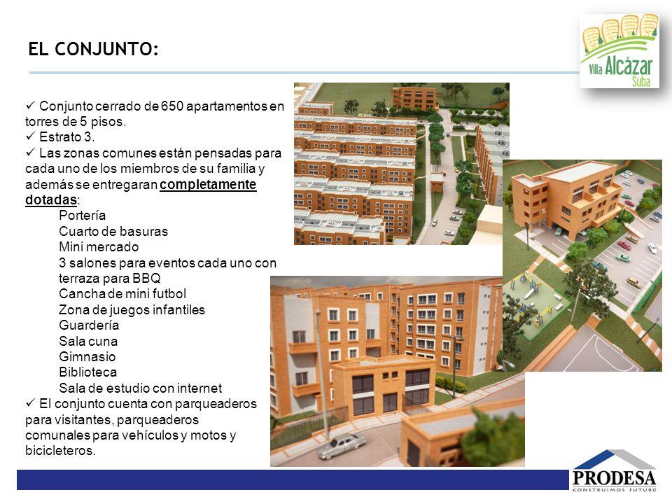 EL CONJUNTO: Conjunto cerrado de 650 apartamentos en torres de 5 pisos. Estrato 3. Las zonas comunes están pensadas para cada uno de los miembros de s