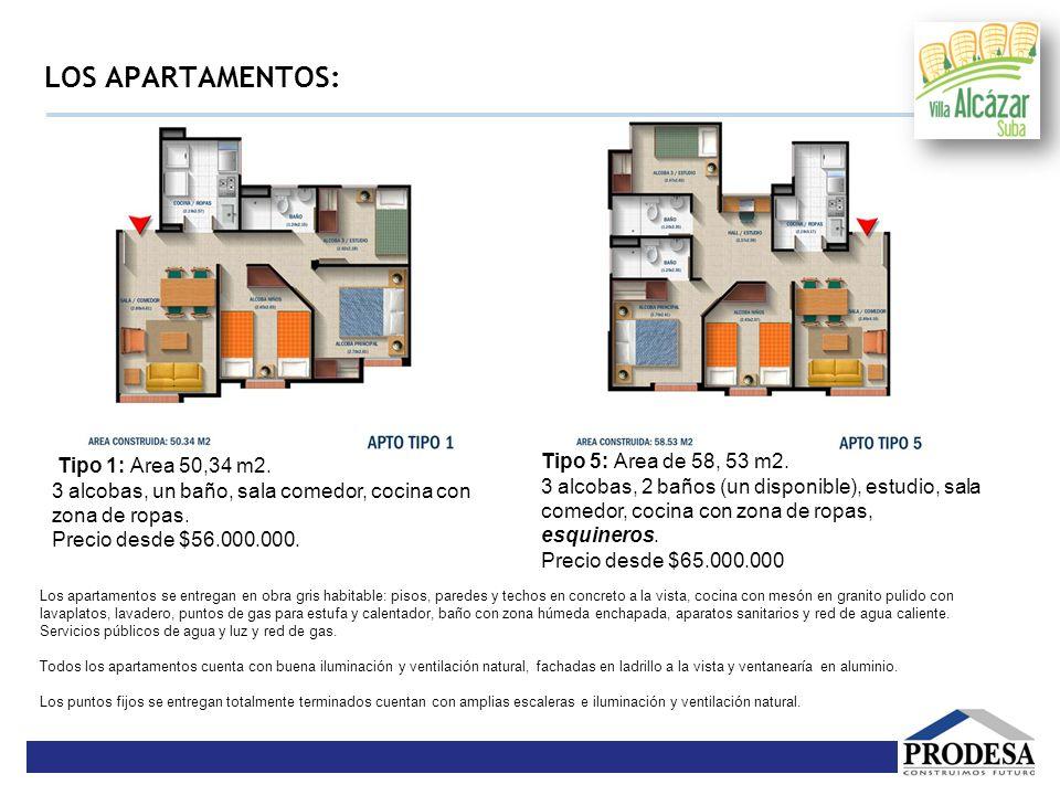 LOS APARTAMENTOS: Tipo 1: Área 50,34 m2. 3 alcobas, un baño, sala comedor, cocina con zona de ropas. Precio desde $56.000.000. Tipo 5: Área de 58, 53