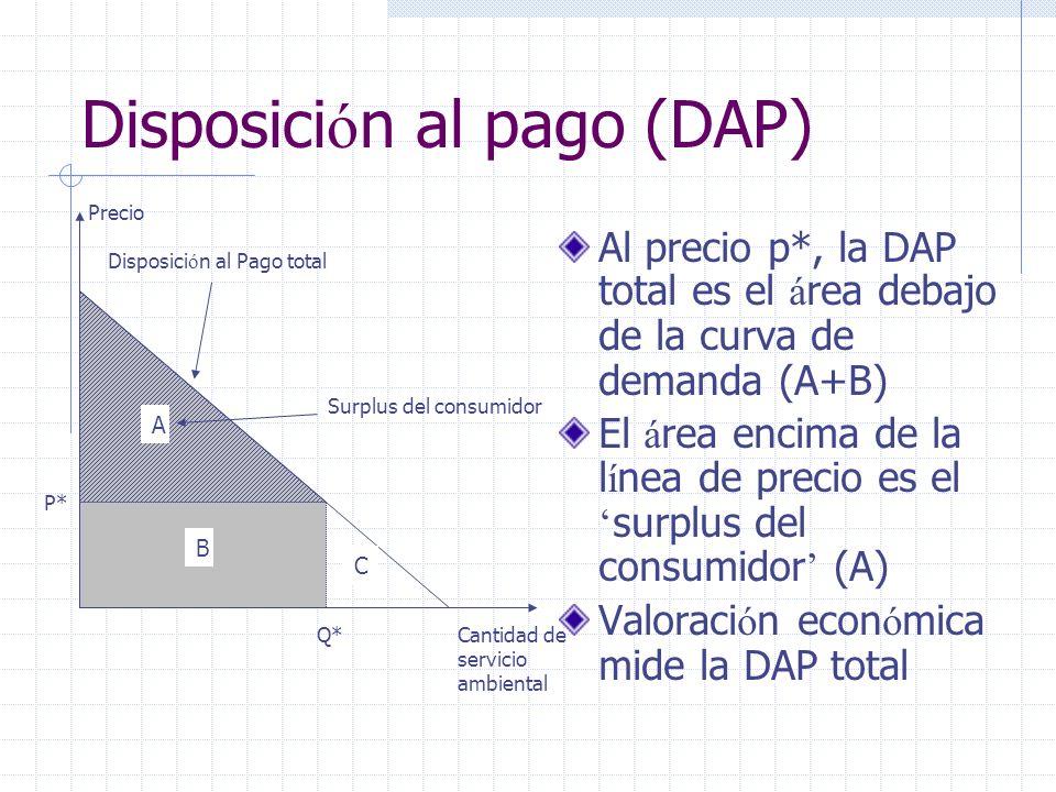 Disposici ó n al pago (DAP) Al precio p*, la DAP total es el á rea debajo de la curva de demanda (A+B) El á rea encima de la l í nea de precio es el s