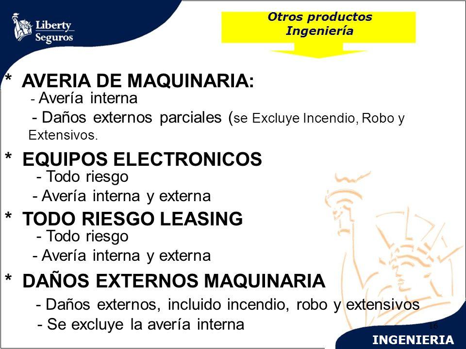 INGENIERIA 16 Otros productos Ingeniería * AVERIA DE MAQUINARIA: - Avería interna - Daños externos parciales ( se Excluye Incendio, Robo y Extensivos.
