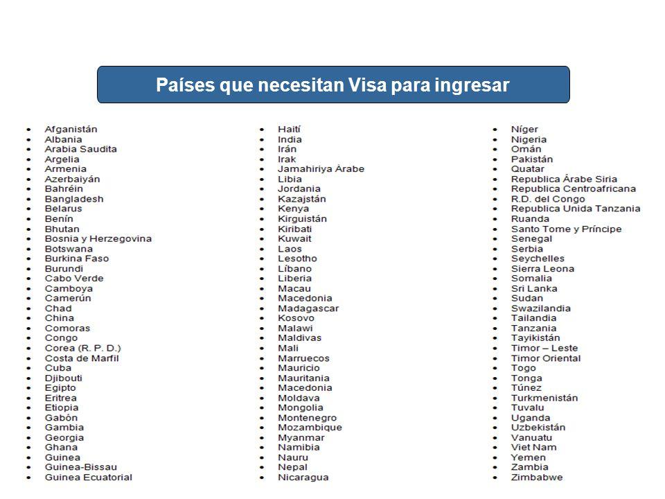 Países que necesitan Visa para ingresar