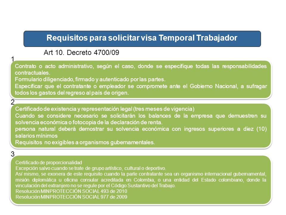 Requisitos para solicitar visa Temporal Trabajador Art 10. Decreto 4700/09 Contrato o acto administrativo, según el caso, donde se especifique todas l