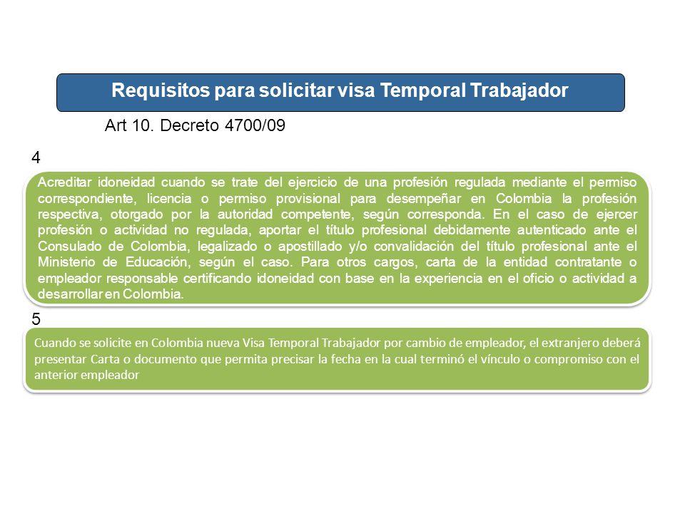 Requisitos para solicitar visa Temporal Trabajador Art 10. Decreto 4700/09 Acreditar idoneidad cuando se trate del ejercicio de una profesión regulada