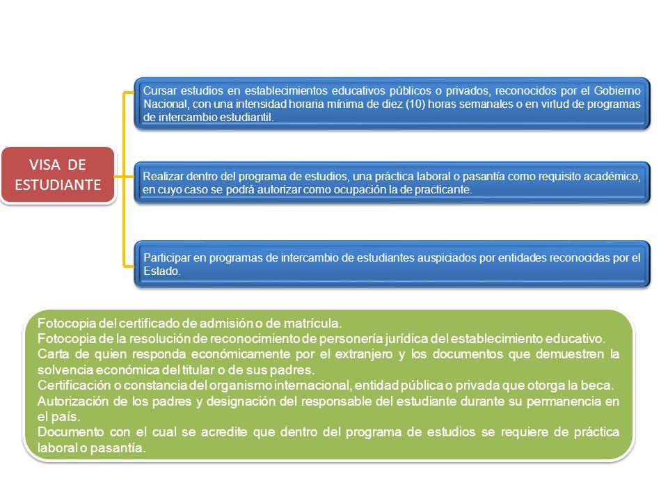 VISA DE ESTUDIANTE Participar en programas de intercambio de estudiantes auspiciados por entidades reconocidas por el Estado. Realizar dentro del prog