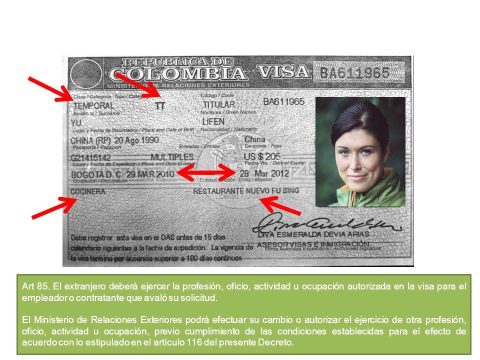 Art 85. El extranjero deberá ejercer la profesión, oficio, actividad u ocupación autorizada en la visa para el empleador o contratante que avaló su so