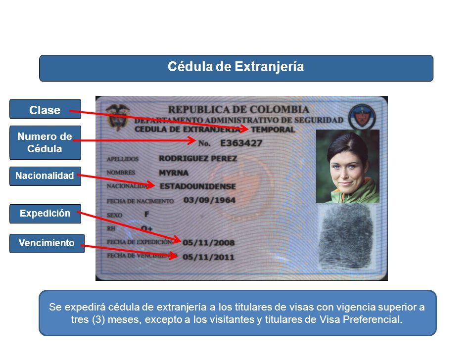 Cédula de Extranjería Vencimiento Nacionalidad Expedición Numero de Cédula Clase Se expedirá cédula de extranjería a los titulares de visas con vigenc