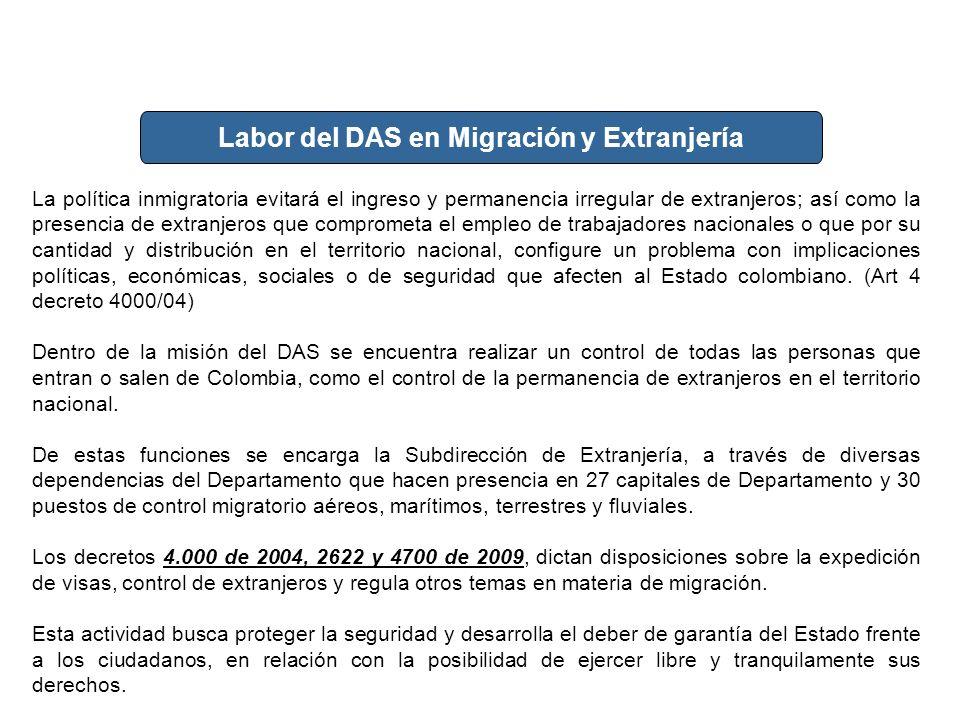 Actividad del DAS en Extranjería y migración La política inmigratoria evitará el ingreso y permanencia irregular de extranjeros; así como la presencia