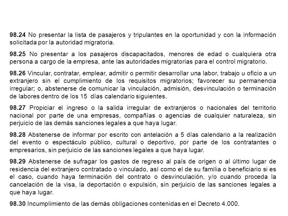 98.24 No presentar la lista de pasajeros y tripulantes en la oportunidad y con la información solicitada por la autoridad migratoria. 98.25 No present