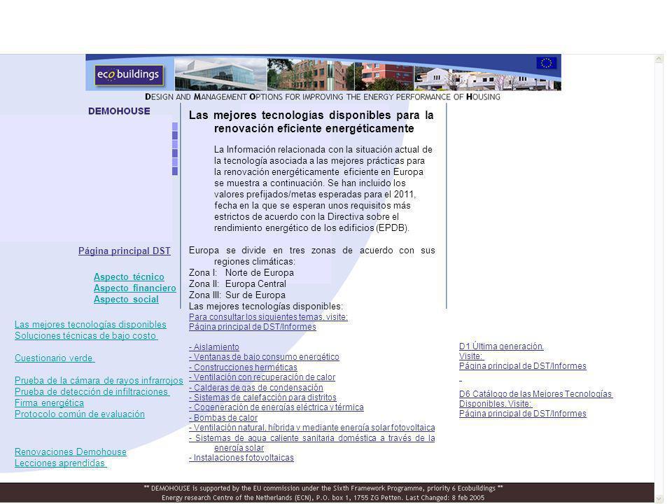D6 Catálogo de las Mejores Tecnologías Disponibles. Visite: Página principal de DST/Informes Página principal DST D1 Última generación. Visite: Página