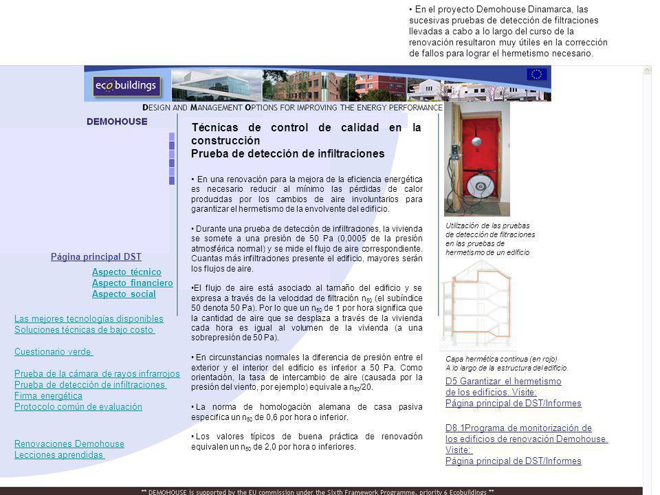Utilización de las pruebas de detección de filtraciones en las pruebas de hermetismo de un edificio renovado. Capa hermética continua (en rojo) A lo l