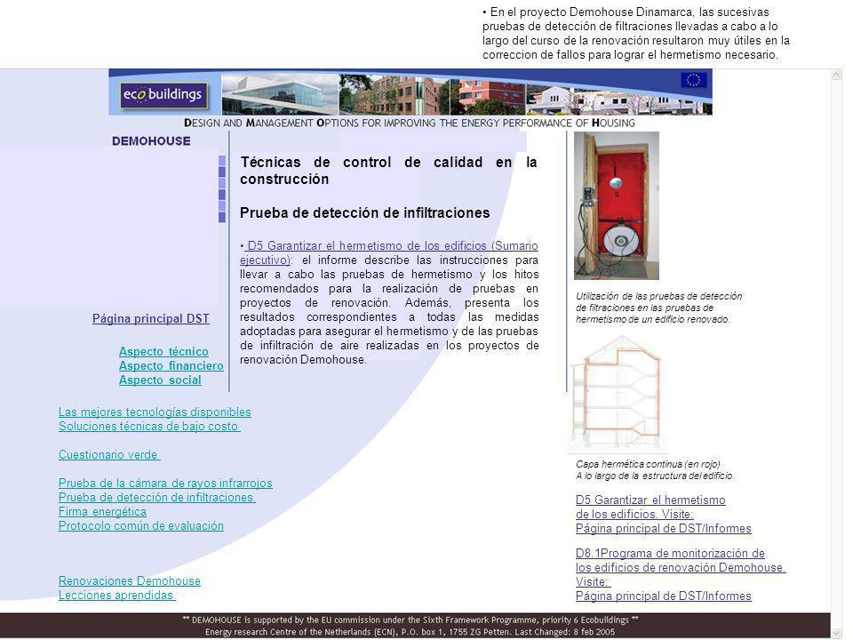Técnicas de control de calidad en la construcción Prueba de detección de infiltraciones D5 Garantizar el hermetismo de los edificios (Sumario ejecutiv