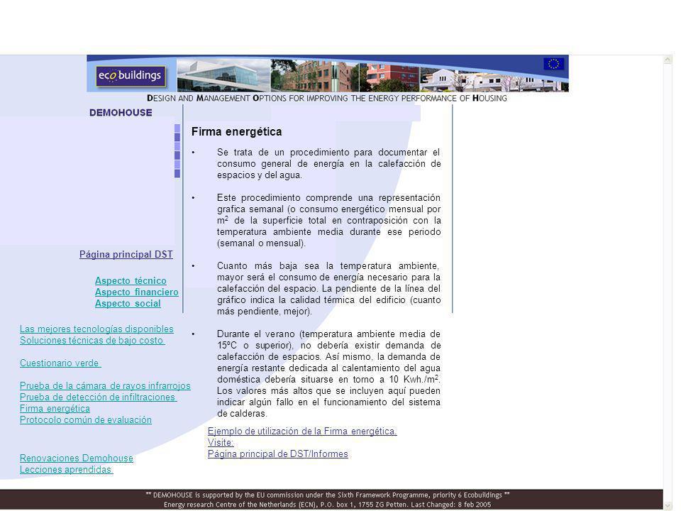 Firma energética Se trata de un procedimiento para documentar el consumo general de energía en la calefacción de espacios y del agua. Este procedimien