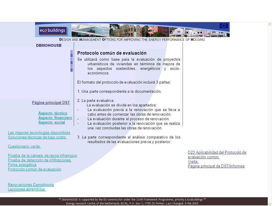 Protocolo común de evaluación Página principal DST D23 Aplicabilidad del Protocolo de evaluación común.