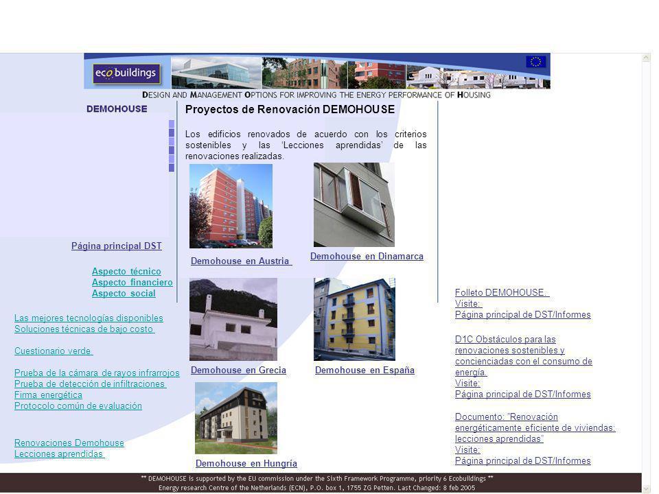 Demohouse en Austria Demohouse en Dinamarca Demohouse en GreciaDemohouse en España Demohouse en Hungría D1C Obstáculos para las renovaciones sostenibles y concienciadas con el consumo de energía.