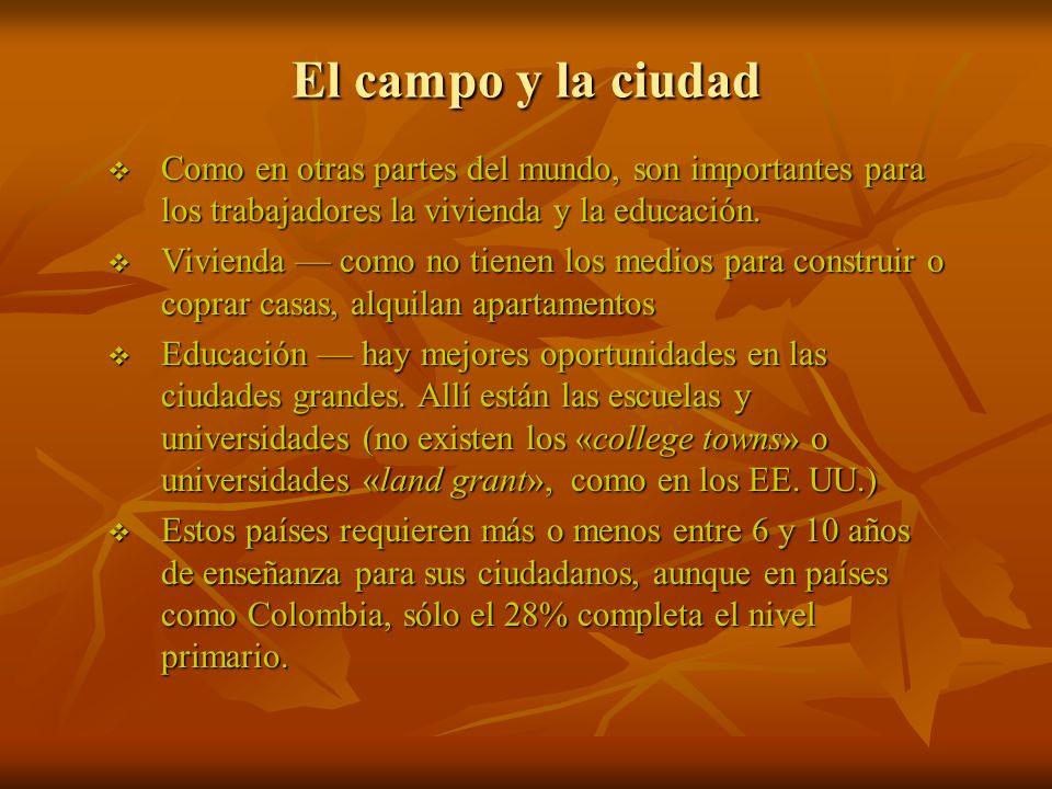 El campo y la ciudad Como en otras partes del mundo, son importantes para los trabajadores la vivienda y la educación.