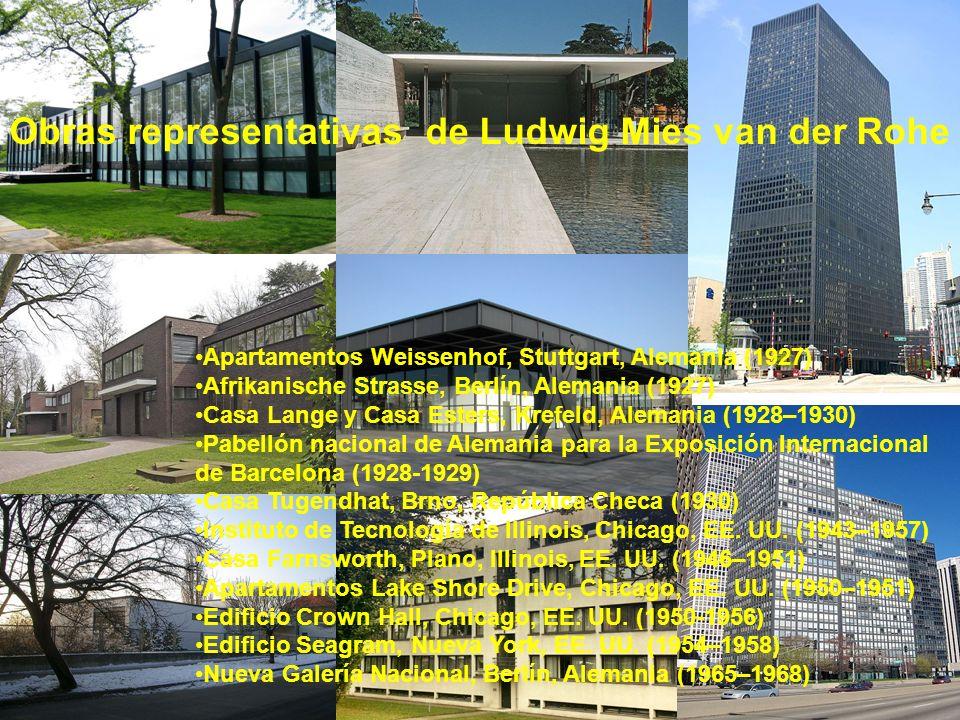 Obras representativas de Ludwig Mies van der Rohe Apartamentos Weissenhof, Stuttgart, Alemania (1927) Afrikanische Strasse, Berlín, Alemania (1927) Ca