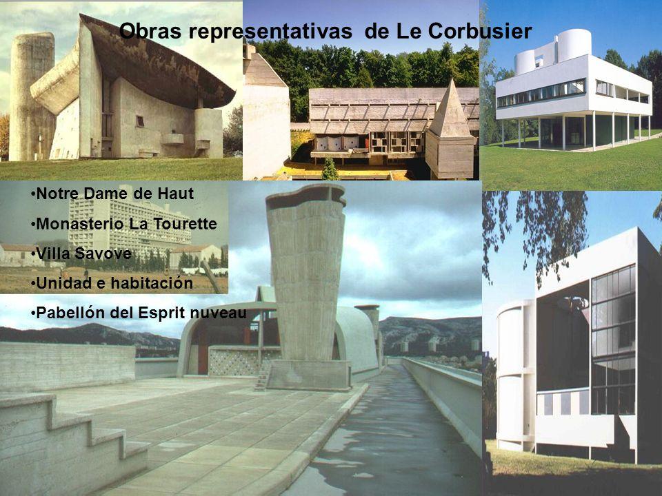 Obras representativas de Le Corbusier Notre Dame de Haut Monasterio La Tourette Villa Savove Unidad e habitación Pabellón del Esprit nuveau