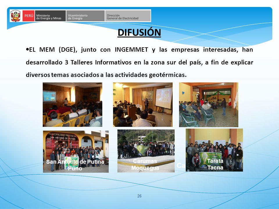 26 EL MEM (DGE), junto con INGEMMET y las empresas interesadas, han desarrollado 3 Talleres Informativos en la zona sur del país, a fin de explicar diversos temas asociados a las actividades geotérmicas.