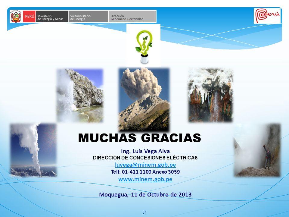 31 Ing.Luis Vega Alva DIRECCIÓN DE CONCESIONES ELÉCTRICAS luvega@minem.gob.pe Telf.