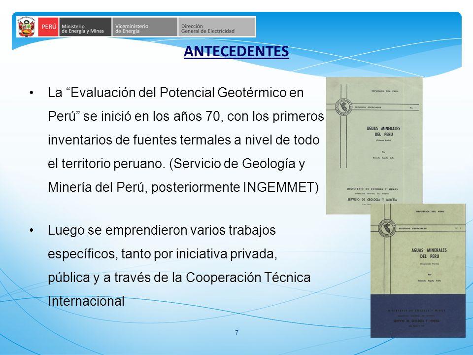 8 1975 MINERO PERU Estudios de exploración preliminar de las manifestaciones geotermales de Calacoa y Salinas (Moquegua) 1976 ENERGY RESEARCH DEL JAPÓN Trabajos de exploraciones preliminares en la cuenca del Vilcanota (Cusco) 1977 INIE Primer Censo de Manifestaciones Hidrotermales 1978 INGEMMET Elaboró un inventario y agrupación geográfica de afloramientos geotermales por regiones