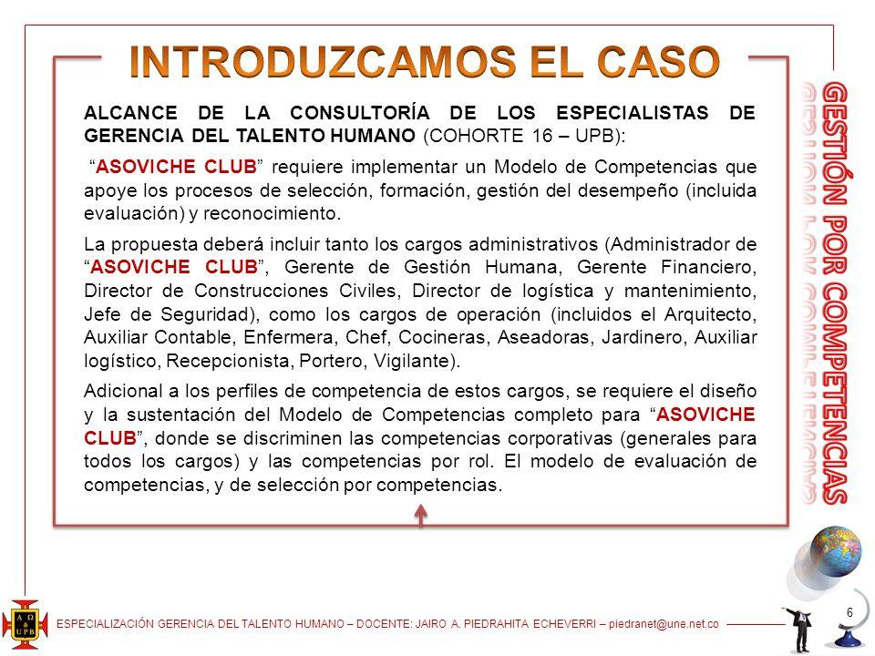 ESPECIALIZACIÓN GERENCIA DEL TALENTO HUMANO – DOCENTE: JAIRO A. PIEDRAHITA ECHEVERRI – piedranet@une.net.co 6 ALCANCE DE LA CONSULTORÍA DE LOS ESPECIA