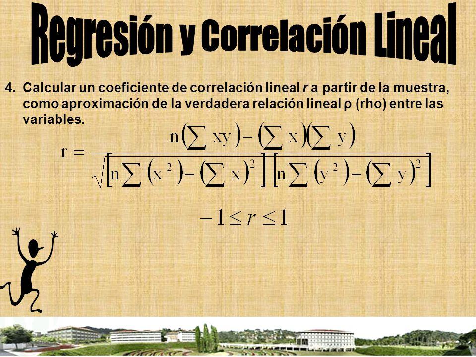 4.Calcular un coeficiente de correlación lineal r a partir de la muestra, como aproximación de la verdadera relación lineal ρ (rho) entre las variable