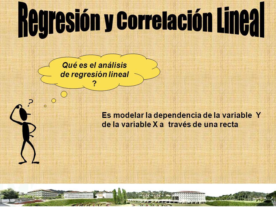Qué es el análisis de regresión lineal ? Es modelar la dependencia de la variable Y de la variable X a través de una recta