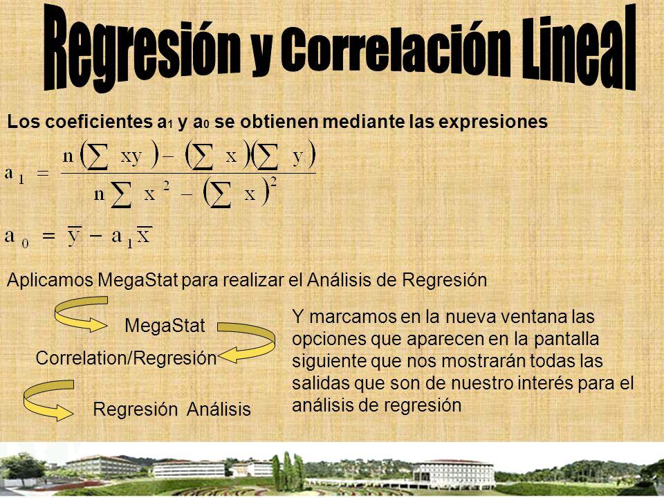 Los coeficientes a 1 y a 0 se obtienen mediante las expresiones Aplicamos MegaStat para realizar el Análisis de Regresión MegaStat Correlation/Regresi