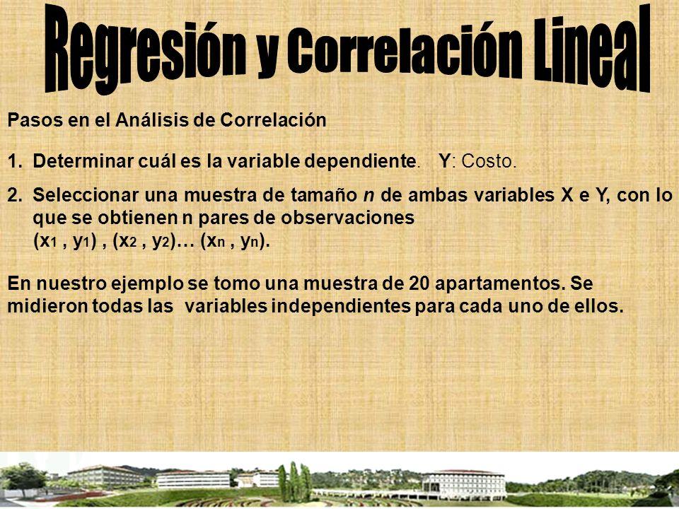 Pasos en el Análisis de Correlación 1.Determinar cuál es la variable dependiente. Y: Costo. 2.Seleccionar una muestra de tamaño n de ambas variables X