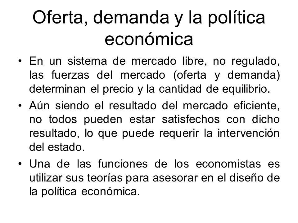 Oferta, demanda y la política económica En un sistema de mercado libre, no regulado, las fuerzas del mercado (oferta y demanda) determinan el precio y