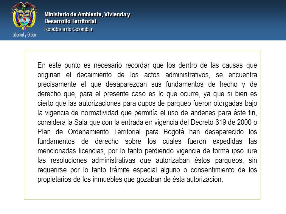 PRESIDENCIA DE LA REPÚBLICA Ministerio de Ambiente, Vivienda y Desarrollo Territorial Ministerio de Ambiente, Vivienda y Desarrollo Territorial Repúbl