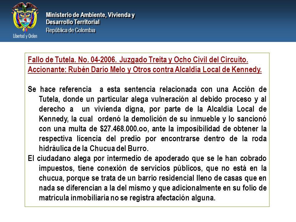 PRESIDENCIA DE LA REPÚBLICA Ministerio de Ambiente, Vivienda y Desarrollo Territorial Ministerio de Ambiente, Vivienda y Desarrollo Territorial República de Colombia Ministerio de Ambiente, Vivienda y Desarrollo Territorial República de Colombia Fallo de Tutela.