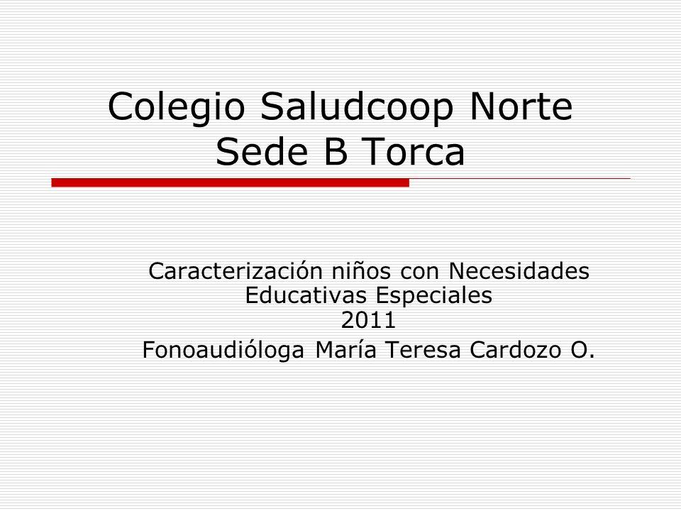 Caracterización niños con Necesidades Educativas Especiales 2011 Fonoaudióloga María Teresa Cardozo O. Colegio Saludcoop Norte Sede B Torca