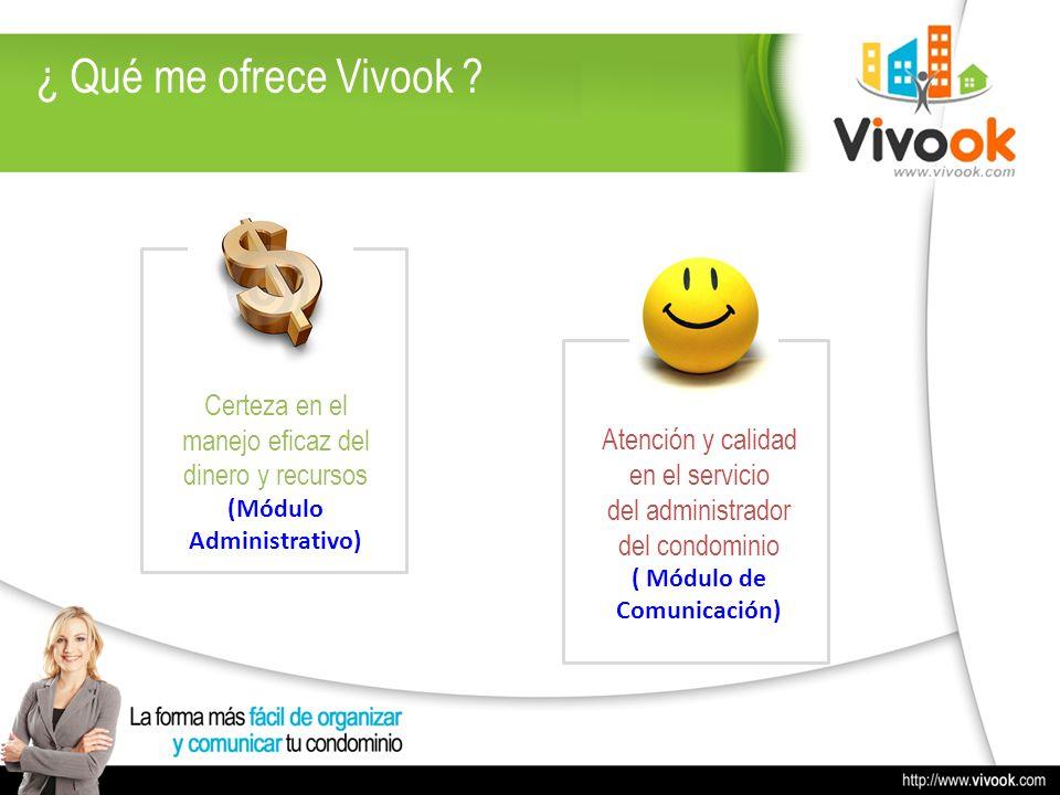 ¿ Qué me ofrece Vivook ? Certeza en el manejo eficaz del dinero y recursos (Módulo Administrativo) Atención y calidad en el servicio del administrador