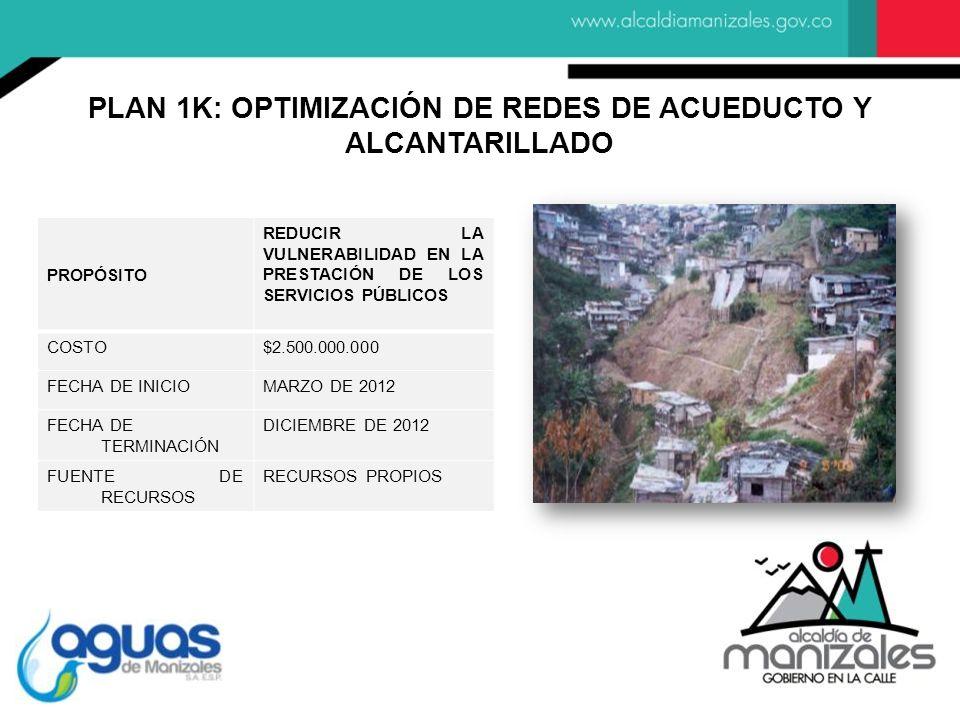 PROPÓSITO REDUCIR LA VULNERABILIDAD EN LA PRESTACIÓN DE LOS SERVICIOS PÚBLICOS COSTO$2.500.000.000 FECHA DE INICIOMARZO DE 2012 FECHA DE TERMINACIÓN D
