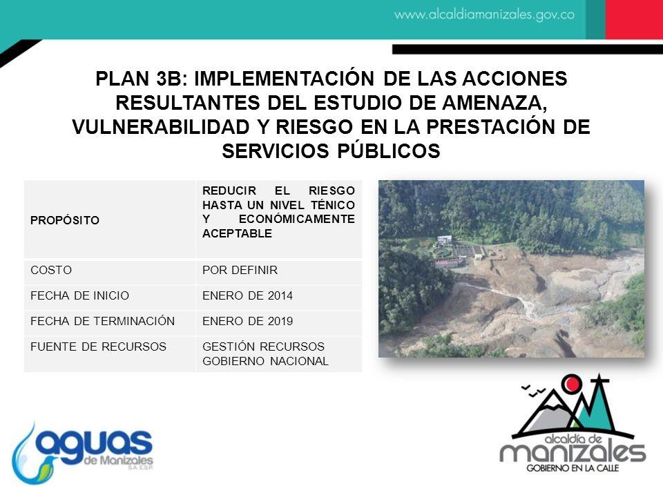 PROPÓSITO REDUCIR EL RIESGO HASTA UN NIVEL TÉNICO Y ECONÓMICAMENTE ACEPTABLE COSTOPOR DEFINIR FECHA DE INICIOENERO DE 2014 FECHA DE TERMINACIÓNENERO DE 2019 FUENTE DE RECURSOSGESTIÓN RECURSOS GOBIERNO NACIONAL PLAN 3B: IMPLEMENTACIÓN DE LAS ACCIONES RESULTANTES DEL ESTUDIO DE AMENAZA, VULNERABILIDAD Y RIESGO EN LA PRESTACIÓN DE SERVICIOS PÚBLICOS
