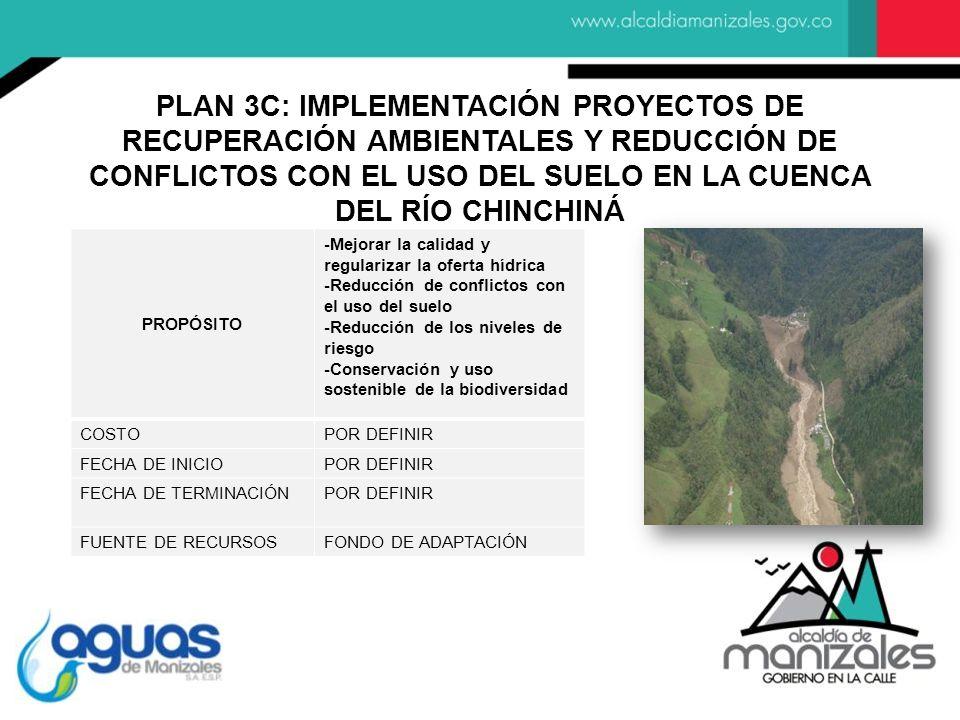 PROPÓSITO -Mejorar la calidad y regularizar la oferta hídrica -Reducción de conflictos con el uso del suelo -Reducción de los niveles de riesgo -Conservación y uso sostenible de la biodiversidad COSTOPOR DEFINIR FECHA DE INICIOPOR DEFINIR FECHA DE TERMINACIÓNPOR DEFINIR FUENTE DE RECURSOSFONDO DE ADAPTACIÓN PLAN 3C: IMPLEMENTACIÓN PROYECTOS DE RECUPERACIÓN AMBIENTALES Y REDUCCIÓN DE CONFLICTOS CON EL USO DEL SUELO EN LA CUENCA DEL RÍO CHINCHINÁ