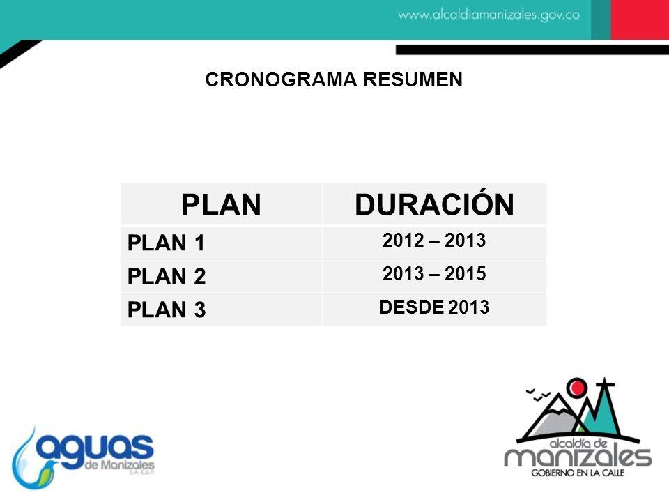 PLANDURACIÓN PLAN 1 2012 – 2013 PLAN 2 2013 – 2015 PLAN 3 DESDE 2013 CRONOGRAMA RESUMEN