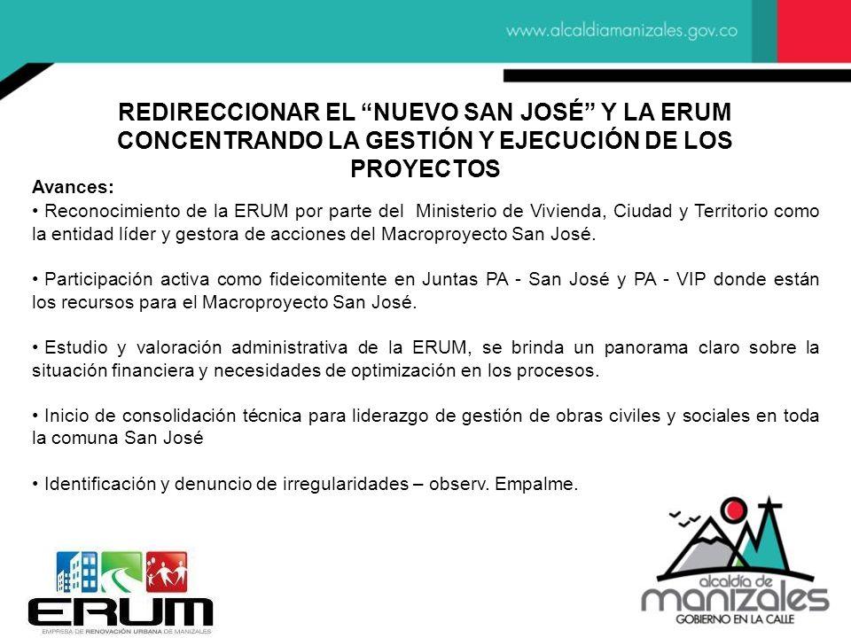 Avances: Reconocimiento de la ERUM por parte del Ministerio de Vivienda, Ciudad y Territorio como la entidad líder y gestora de acciones del Macroproyecto San José.