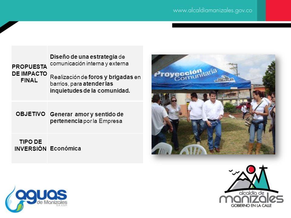 PROPUESTA DE IMPACTO FINAL Diseño de una estrategia de comunicación interna y externa Realización de foros y brigadas en barrios, para atender las inq