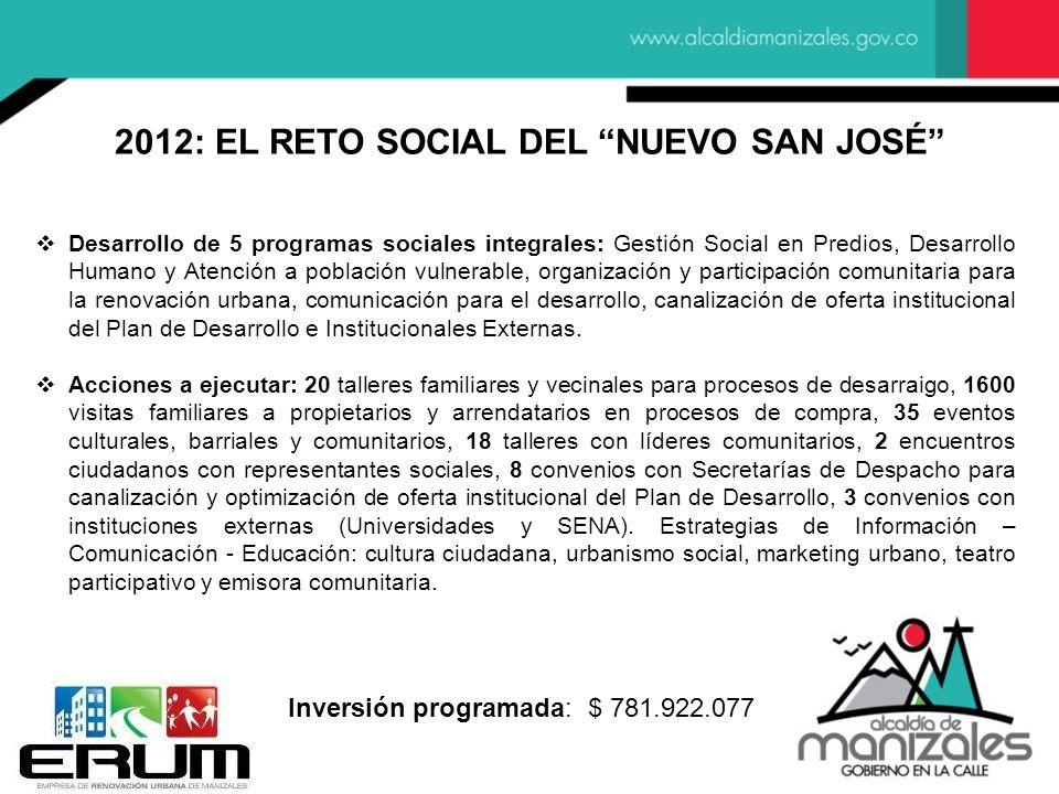 2012: EL RETO SOCIAL DEL NUEVO SAN JOSÉ Desarrollo de 5 programas sociales integrales: Gestión Social en Predios, Desarrollo Humano y Atención a pobla