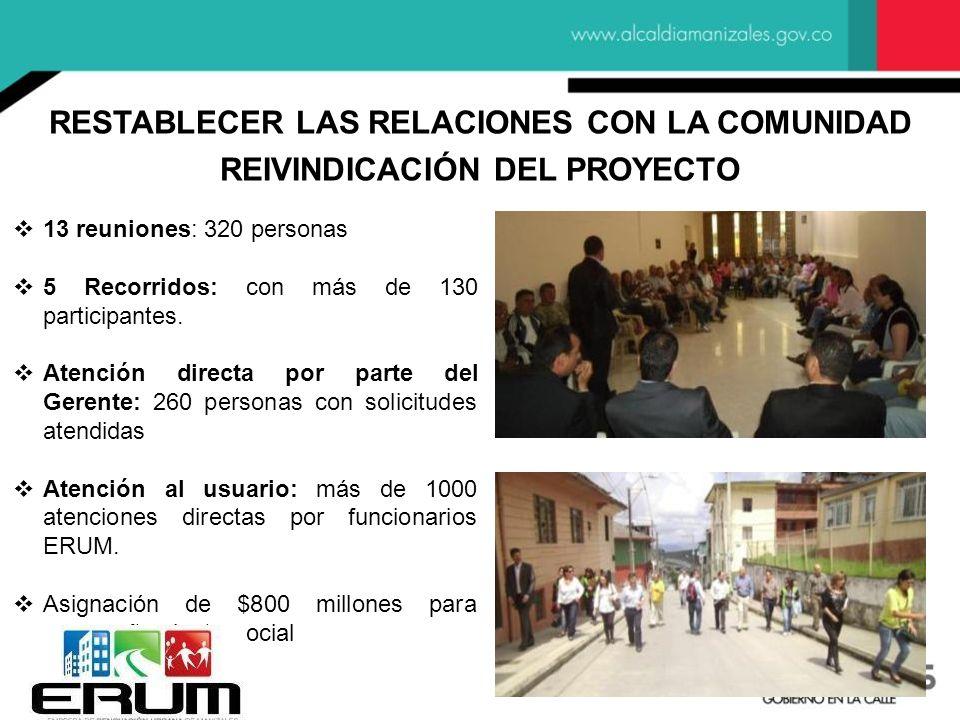 RESTABLECER LAS RELACIONES CON LA COMUNIDAD REIVINDICACIÓN DEL PROYECTO 13 reuniones: 320 personas 5 Recorridos: con más de 130 participantes. Atenció