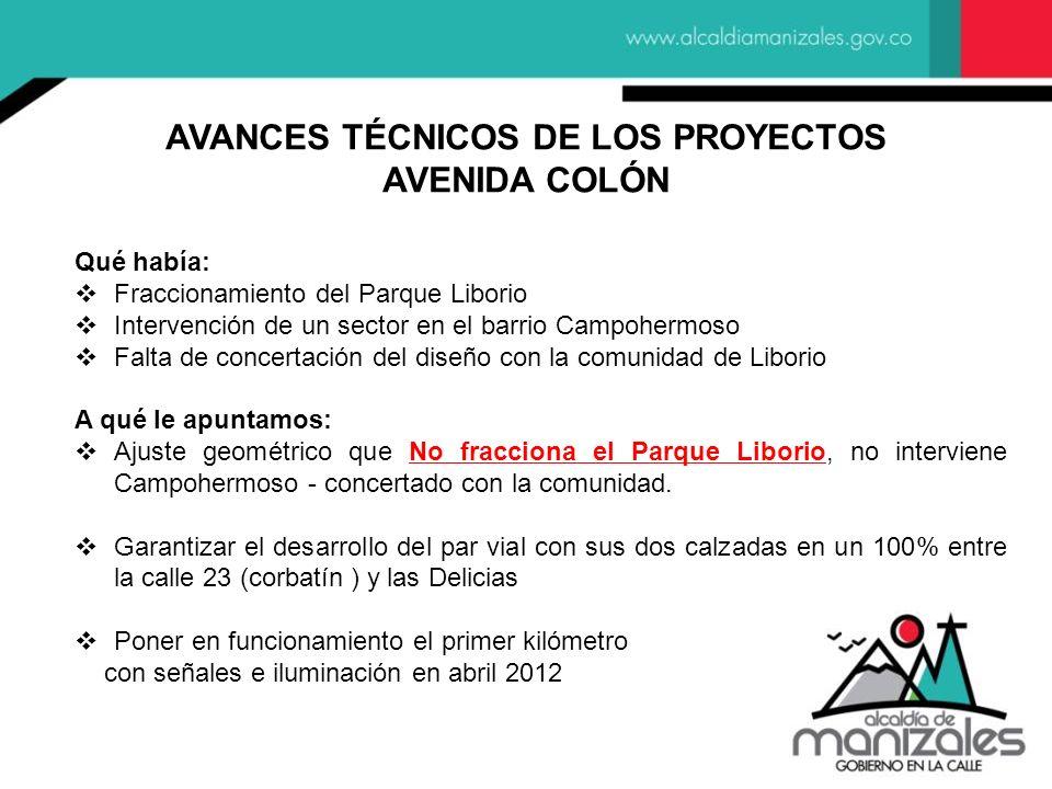 AVANCES TÉCNICOS DE LOS PROYECTOS AVENIDA COLÓN Qué había: Fraccionamiento del Parque Liborio Intervención de un sector en el barrio Campohermoso Falt