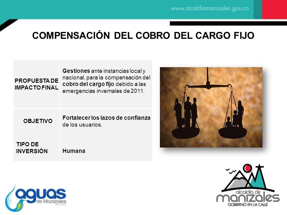 PROPUESTA DE IMPACTO FINAL Gestiones ante instancias local y nacional, para la compensación del cobro del cargo fijo debido a las emergencias invernales de 2011.