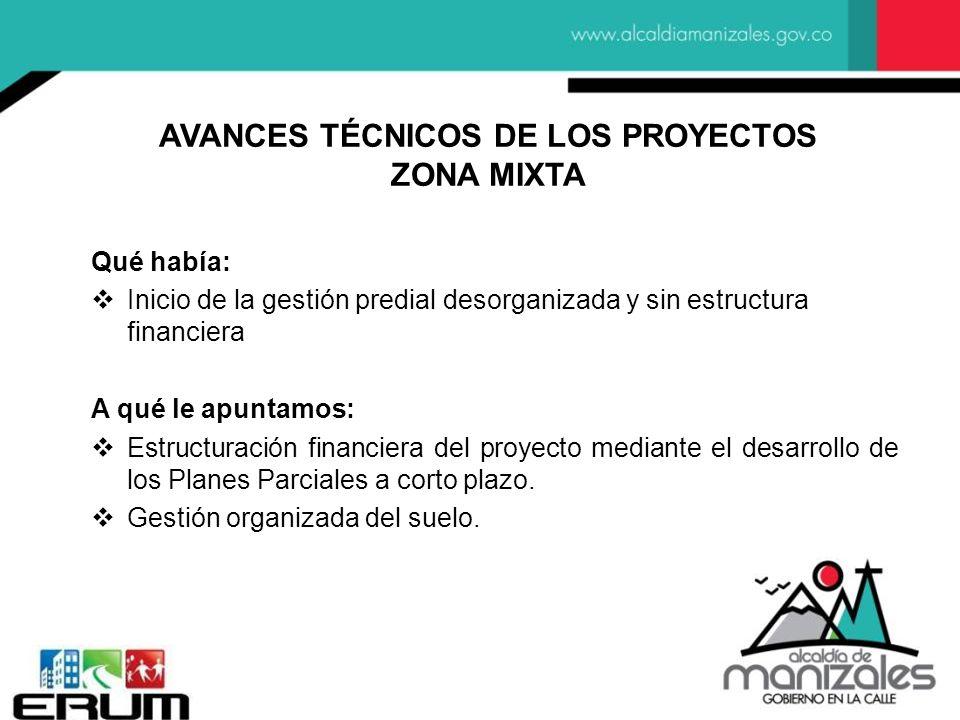 AVANCES TÉCNICOS DE LOS PROYECTOS ZONA MIXTA Qué había: Inicio de la gestión predial desorganizada y sin estructura financiera A qué le apuntamos: Estructuración financiera del proyecto mediante el desarrollo de los Planes Parciales a corto plazo.